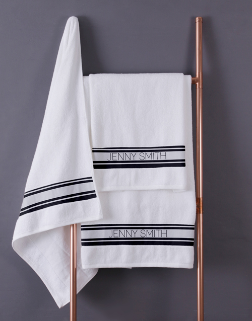 bath-and-body: Personalised Modern Name White Towel set!