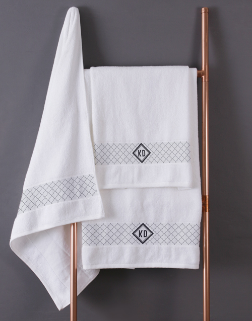 bath-and-body: Personalised Crest White Towel Set!