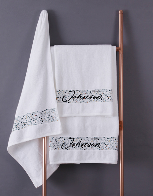 bath-and-body: Personalised Family White Bath Towel Set!