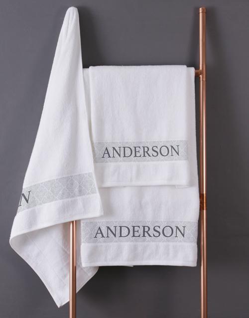 bath-and-body: Personalised Scroll White Bath Towel Set!