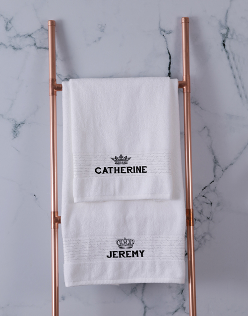 bath-and-body: Personalised Royal White Towel Set!