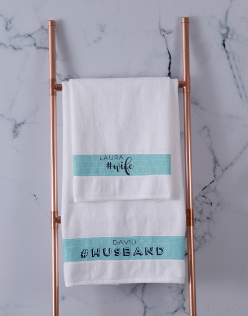 bath-and-body: Personalised Husband and Wife White Towel Set!