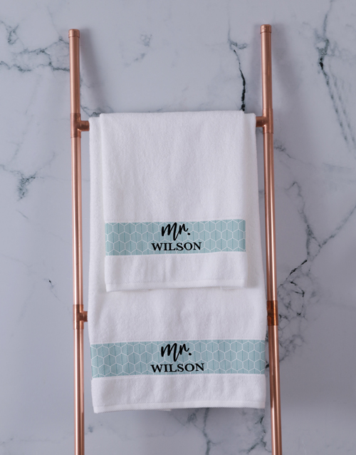 bath-and-body: Personalised Mr and Mrs Towel Set!