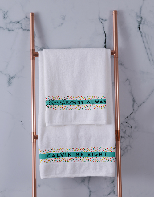 bath-and-body: Personalised Mr and Mrs Always Right Towel Set!