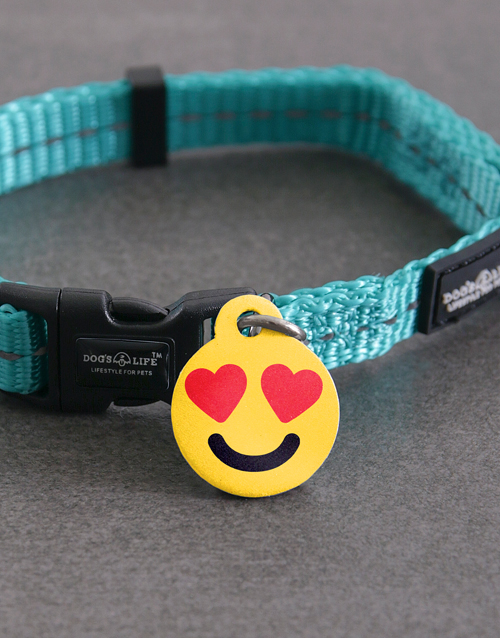 pets: Personalised Heart Emoji ID Tag and XS Collar!