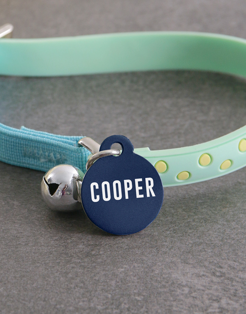 personalised: Personalised Blue ID Tag and Cat Collar!