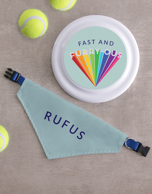 pets: Personalised Fast Frisbee and Bandanna !