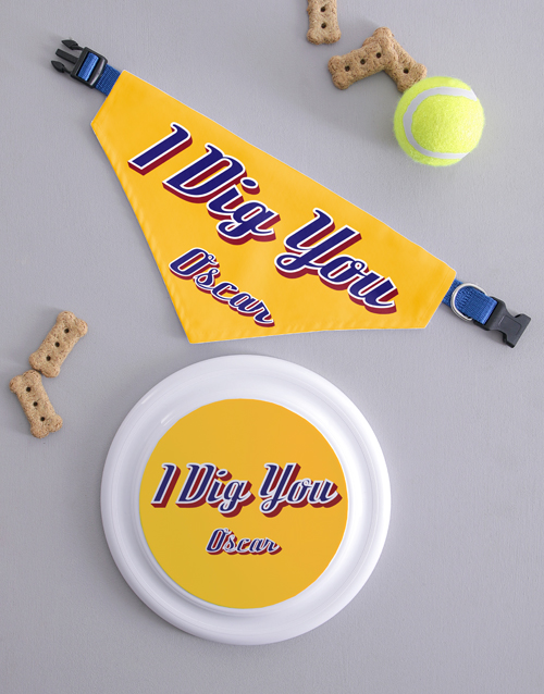 personalised: Personalised Dig You Frisbee and Bandanna!