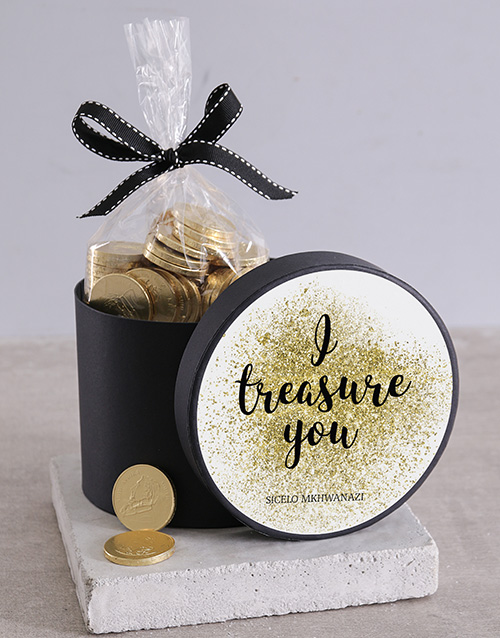 chocolate: Hat Box with Treasure Chocolate Coins!
