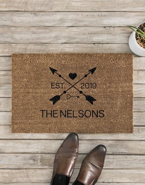 personalised: Personalised Love Arrows Date and Surname Doormat!