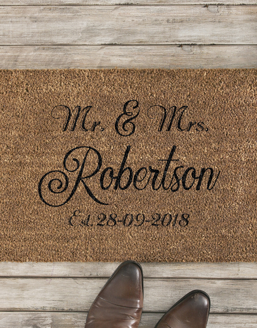 personalised: Personalised Mr And Mrs Date Doormat!