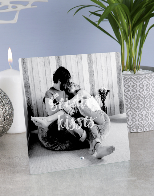 personalised: Personalised Sending Kisses Glass Tile !