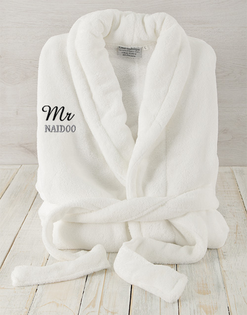winter: Personalised Mr White Fleece Gown!