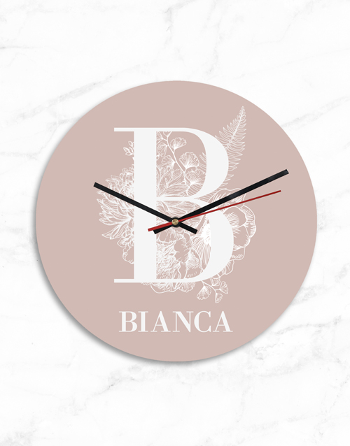 home-decor: Personalised Pink Monogram and Name Clock!