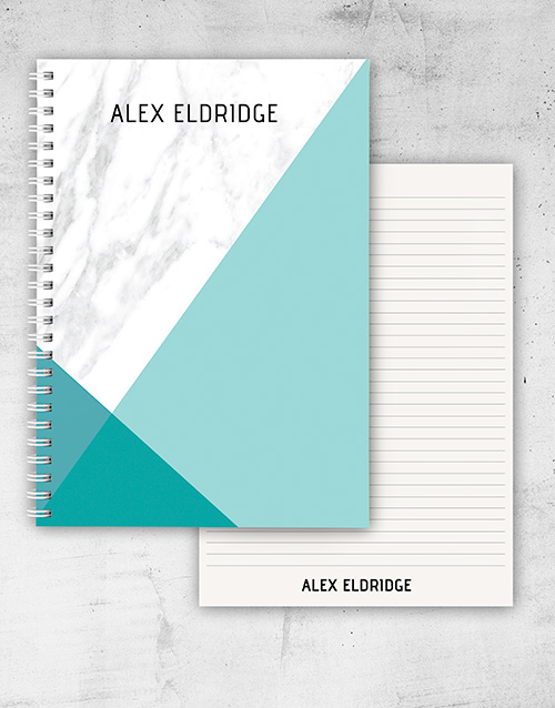 bosses-day: Personalised Diagonal Marble Notebook!