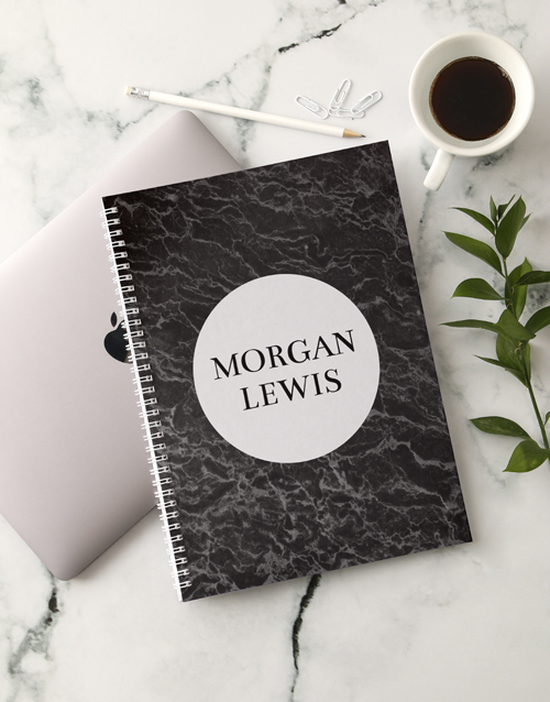 christmas: Personalised Charcoal Marble Notebook!
