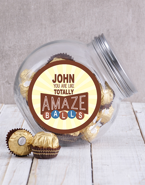 candy-jars: Personalised Brown Amazeballs Candy Jar!