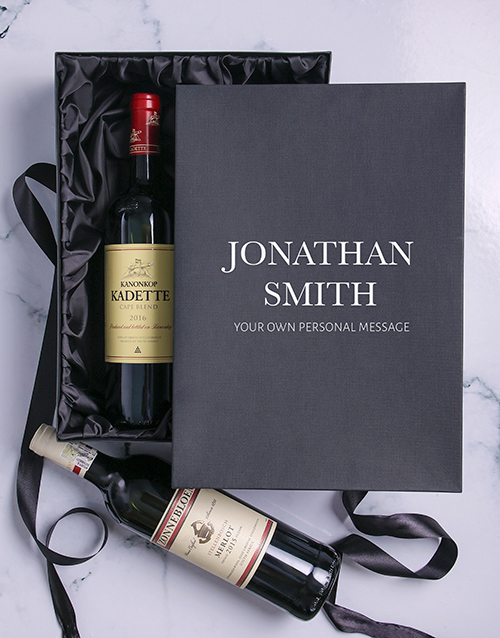 bosses-day: Personalised Name and Message Red Wine Duo!