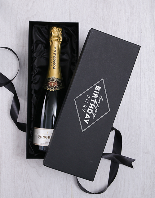 birthday: Personalised Happy Birthday Box with Champagne!