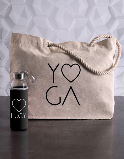 activewear: Personalised Yoga Waterbottle and Tote!