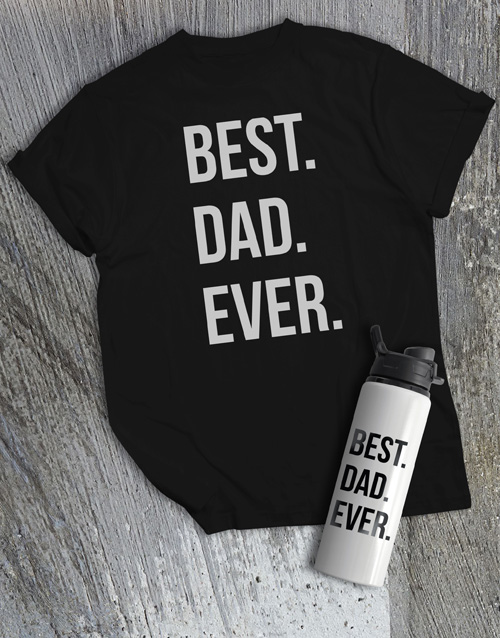 personalised: Personalised Best Dad Water Bottle And T Shirt!
