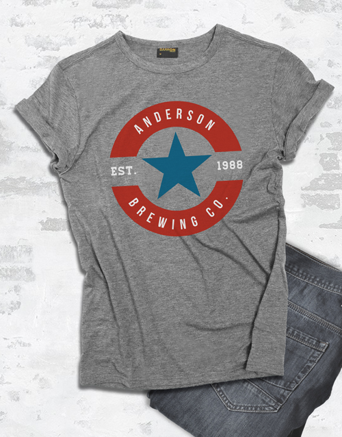 clothing: Personalised Blue And Red Brewing T Shirt !