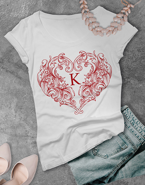 mothers-day: Personalised Valentines Heart Ladies T Shirt!