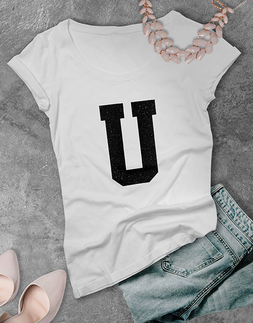 mothers-day: Personalised Glitter Initial Ladies T Shirt !
