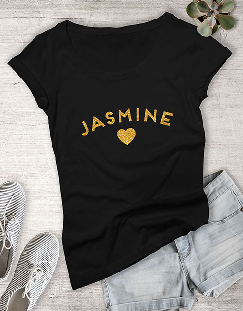 anniversary: Personalised Gold Name With Heart Ladies T Shirt !