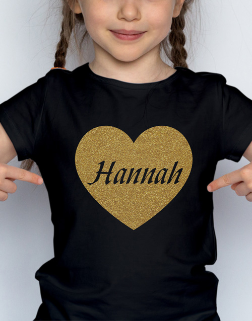 clothing: Personalised Glitter Heart Kids T Shirt!