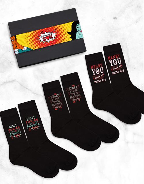 anniversary: Personalised 3 NSFW Socks Box!