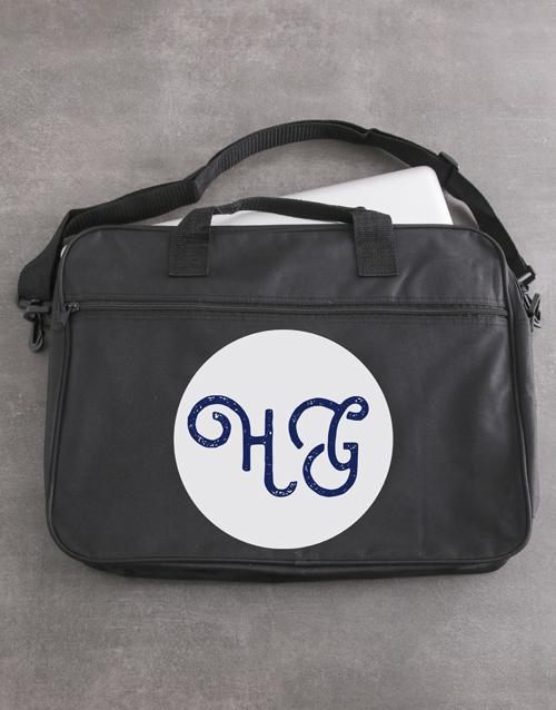 birthday: Personalised Cursive Initials Laptop Bag!