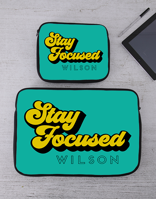 personalised: Personalised Stay Focused Tablet or Laptop Sleeve!