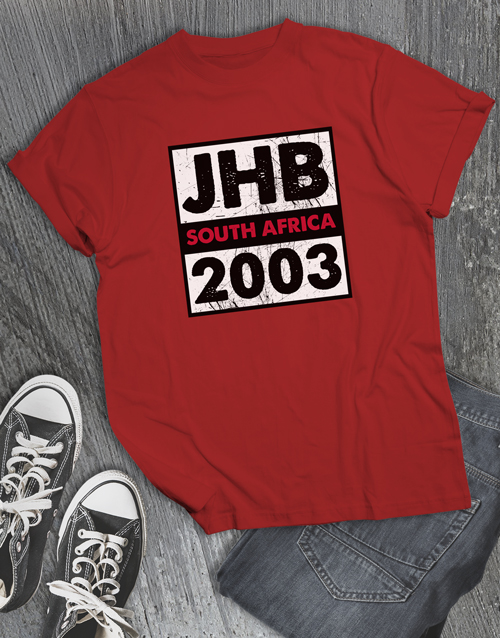 clothing: Personalised Place and Year T Shirt!