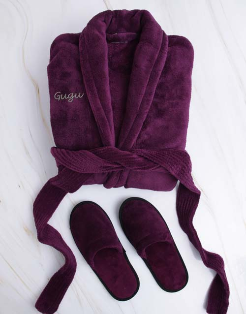 personalised: Personalised Purple Fleece Gown And Slipper Set!