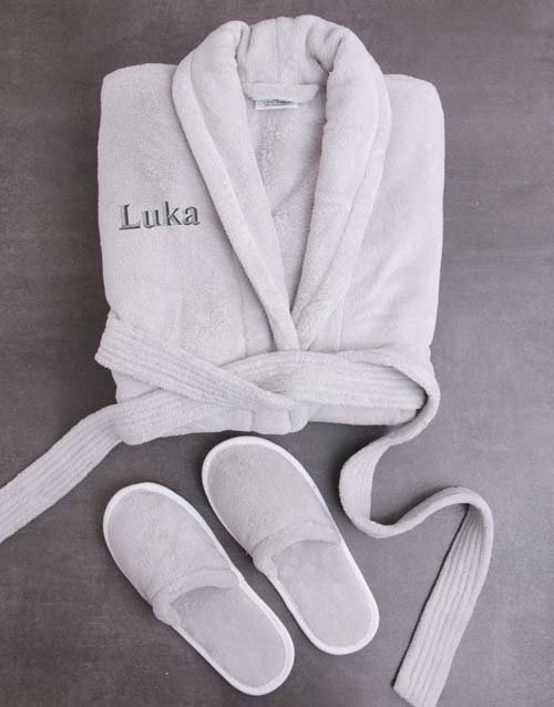 personalised: Personalised Grey Fleece Gown And Slipper Set!