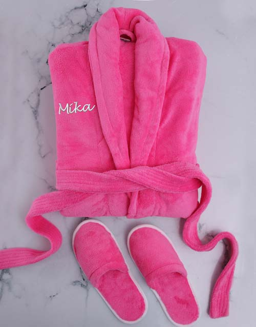 birthday: Personalised Hot Pink Fleece Gown And Slipper Set!