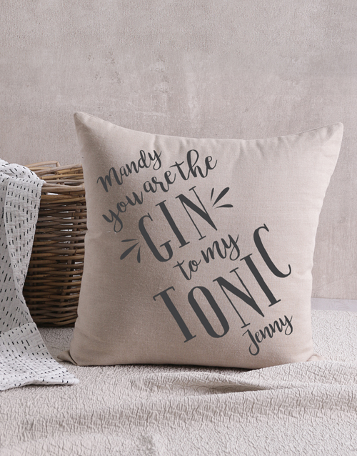 personalised: Personalised Gin And Tonic Scatter Cushion!