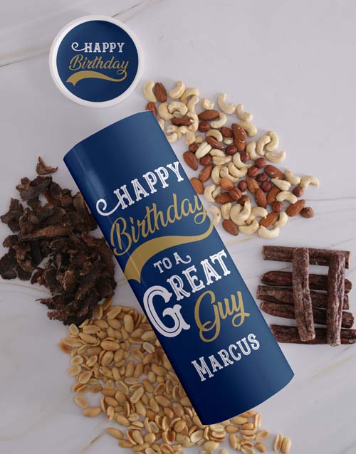 birthday: Personalised Birthday Biltong and Nut Tube!