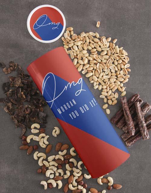gourmet: Personalised Congrats Biltong and Nut Tube!