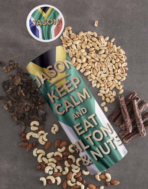 gourmet: Personalised Keep Calm Biltong and Nut Tube!