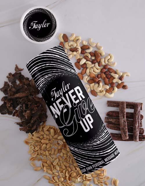 gourmet: Personalised Never Give Up Biltong and Nut Tube!