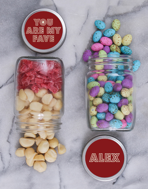 gourmet: Personalised Fave Fruit and Nut Jar Set!