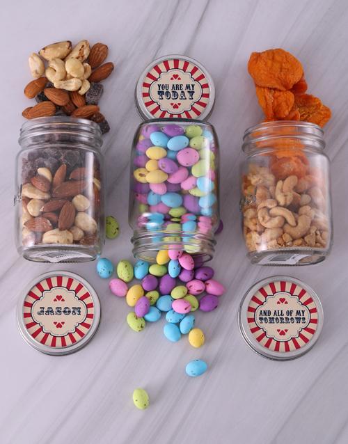 gourmet: Personalised Red Heart Fruit Jar Trio!