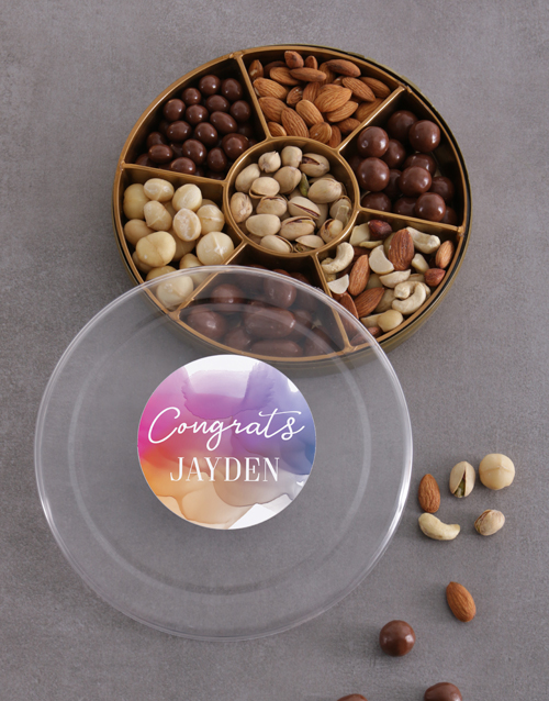 gourmet: Personalised Congrats Nuts Tray!