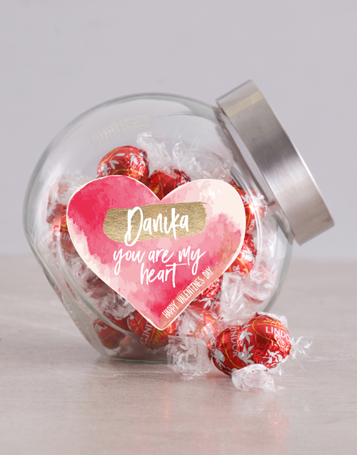 valentines-day: Personalised Watercolour Heart Candy Jar !