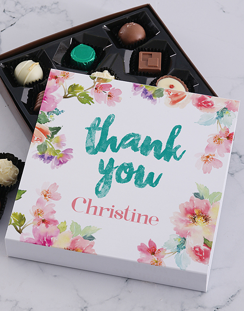 personalised: Personalised Floral Thank You Chocolate Tray!