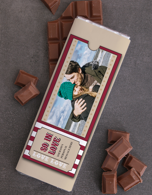 valentines-day: Personalised Photo Ticket 300g Chocolate Slab!