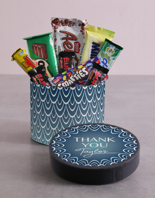 personalised: Personalised Thank You Blue Pattern Hat Box!