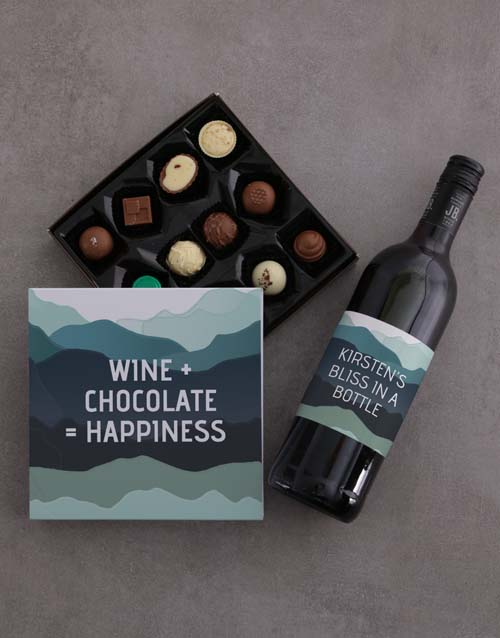 chocolate: Personalised Wine And Chocolate Joy Gift Set!